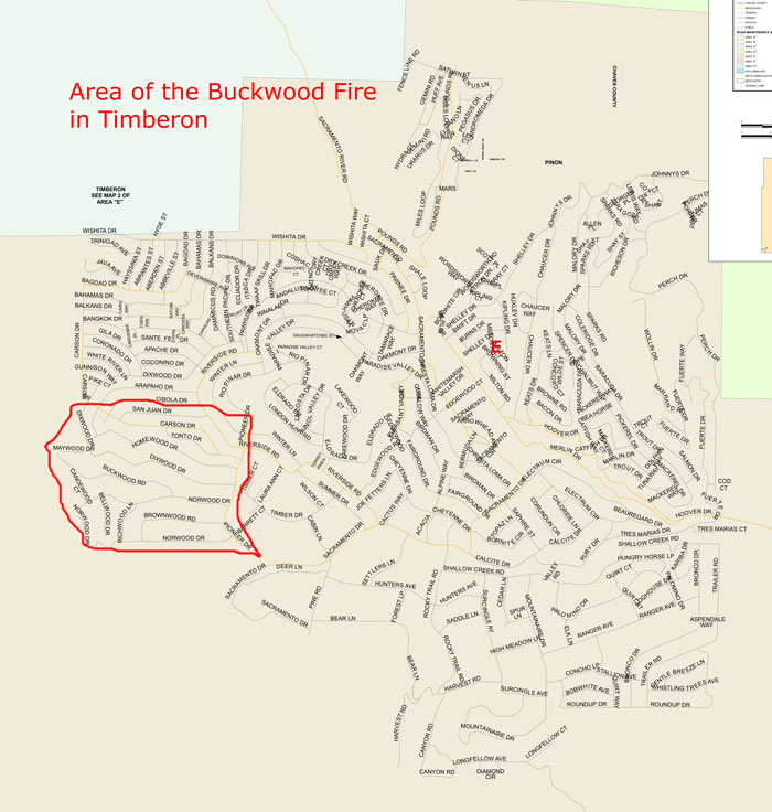 Area of the Buckwood Fire